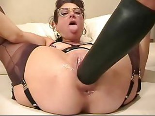 Dildo Glasses Masturbating Mature Toy