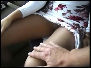 Pantyhose sex in car