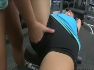 Lesbos please their pussies at the gym free