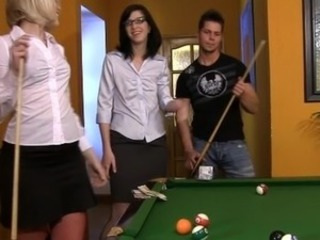 2 bitchy chicks win at pool and make love the looser best onto the pool table