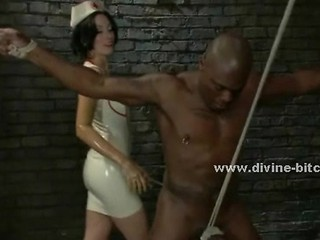 Strong Black Slave Immobilized With Ropes By Pervert Mistress In