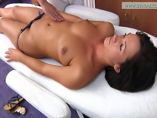 Black haired girl gyno exam. Detailed full body medical examination including...