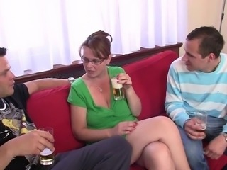 Big-Titted milf likes dicklicking and playing 2 private parts