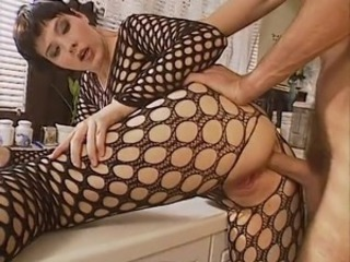 Anal Babe Fishnet Kitchen