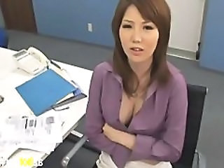 Asian Babe Big Tits Office