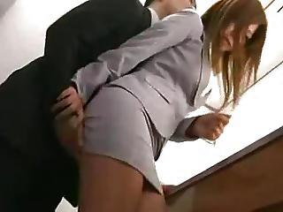Asian Babe Clothed Office