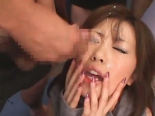 Asian Bukkake Cumshot Facial Japanese Pornstar