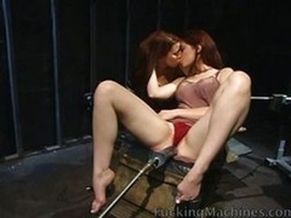 Lesbians riding pussy pounding machines