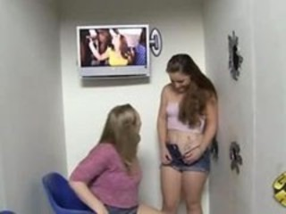 "Two babes taking black cock at gloryhole"" target=""_blank"