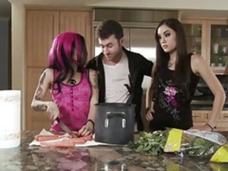 European Goth Sister Teen Threesome