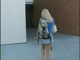 Blonde European Public Student Teen
