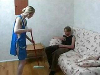 Amateur Homemade Maid Mom Old and Young Uniform