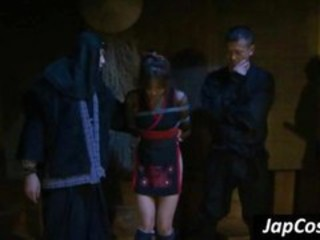 "Tied up Japanese slave gets tortured by two ninjas"" target=""_blank"