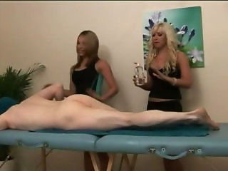Sexy cfnm masseuse babes get naughty
