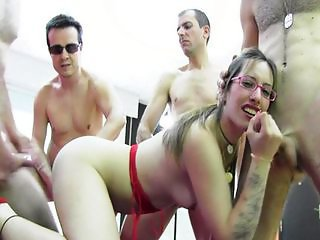 Amazing Cute Gangbang Glasses Handjob Hardcore