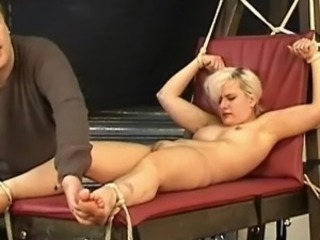 Foot fetish and explicit bastinado foot roped of toe tortured Awesome blonde...