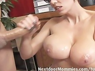 Big breasted mom strokes a black weasel words