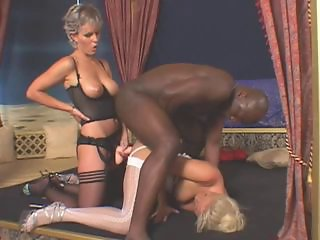 Interracial Lingerie  Pornstar Stockings Strapon Threesome