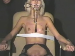 Blonde bound chick Wynter tortured and humiliated by her sadistic master...