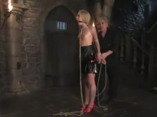 Cute Blonde inside Latex has Tortured inside Electric cable tied movie