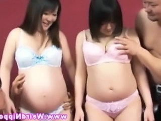 Pregnant asian ladies giving head