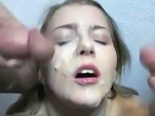 Busty blonde does a Bukkake