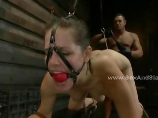 Beautifull brunette teached a rough lesson by boyfriend taken by force in front of the faces of surprised work mates and taken to underground room and perversed in bondage anal sex humiliation and disgrace video show