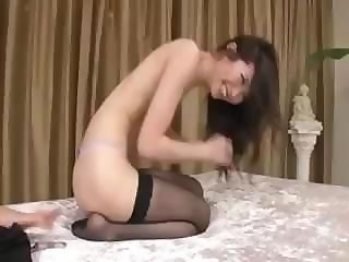 Sexy Asian in stocking gives a nice blowjob before shagging him