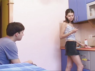 Girlfriend Kitchen Russian Skinny Teen