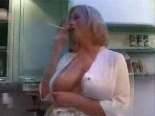 Big Tits Kitchen  Mom Natural  Smoking
