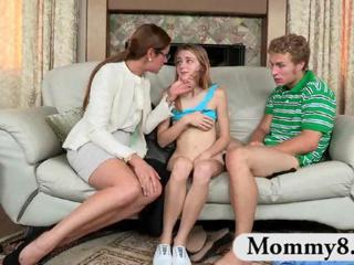 Daughter Family  Mom Old and Young Teen Threesome