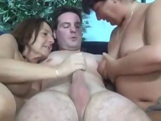 Two Sexy Kinky Matures Have Diversion about Cock