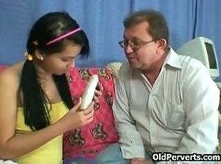 Daddy Dildo Old and Young Pigtail Teen Toy