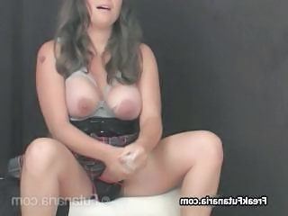 Teen brunette jerking her own huge cock part2