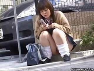 Asian Japanese Outdoor Public Student Teen Uniform Upskirt