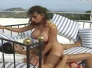 Curly doll in stockings gets her luscious cunt penetrated hard befo...