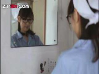 Asian Glasses Nurse Teen Uniform