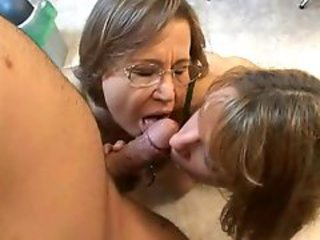 Blowjob Daughter Family Glasses Mature Mom Old and Young Threesome