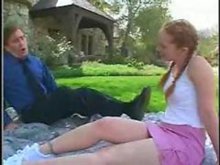 Daddy Daughter Old and Young Outdoor Pigtail Redhead Teen