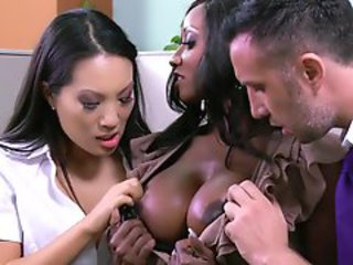Amazing Big Tits Ebony Interracial  Pornstar Threesome