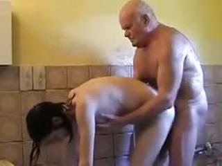 Bathroom Daddy Daughter Doggystyle Old and Young Teen