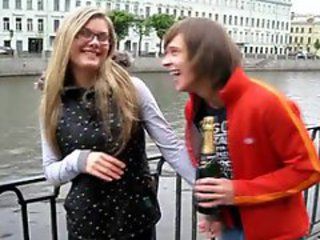 Amateur Drunk Girlfriend Glasses Outdoor Public Teen