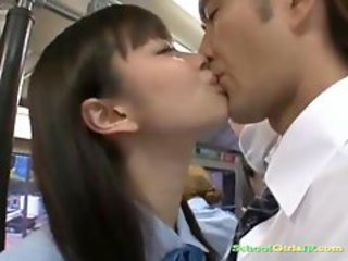 Asian Bus Japanese Kissing Public Student Teen Uniform