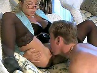 Amazing Big Tits Glasses Licking  Mom Old and Young Stockings