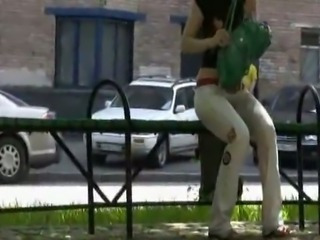 Woman wets her white pants