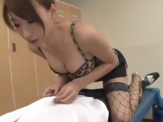 Claire Hasumi sucks until Demonstrating Her Titfucking Skills