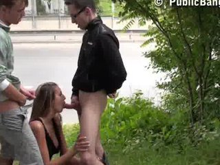 A threesome in PUBLIC with GORGEOUS TEEN part 1
