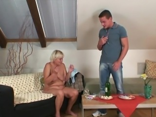 Dirty oldie opens legs for son-in-law