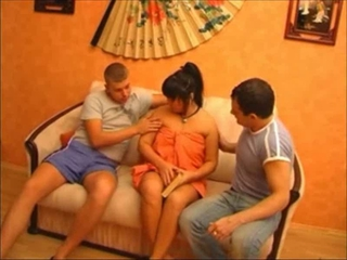 Russian Asian Milf Tries Out Two Boys