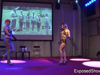 Two Bigtitted Dolls Play Sex Game Fucking Game Nearby Huge Sticks Onto The Stage